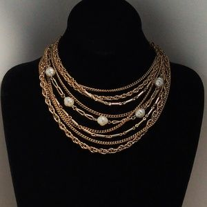 9-Strand VTG Pearl Chain Link Bib Necklace